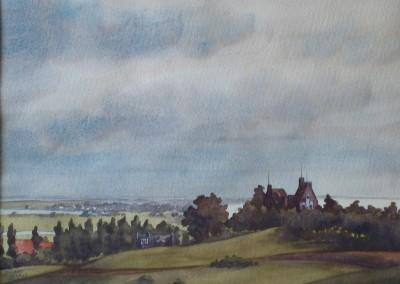 """Eggert GUSTAVS (1909-1996), """"Inselblick mit Lietzenburg"""", Aquarell (undeutlich datiert, ca. Ende 1940er Jahre)"""