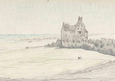 """Elisabetht BÜCHSEL (1867-1957), """"Lietzenburg in Kloster auf Hiddensee"""", Graphit und Farbstift auf festem Papier (1921)"""