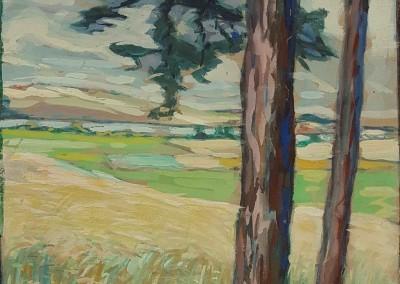 """Julie WOLFTHORN (1864-1944), """"Hiddenseelandschaft"""", Öl auf Malerkarton (undatiert; ca. 1930er Jahre)"""