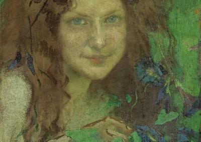 """Julie WOLFTHORN (1864-1944), """"Waldhexe"""", Öl auf Leinwand (1899)"""