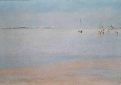 """Oskar KRUSE-LIETZENBURG (1847-1919), """"Boote auf dem Vitter Bodden"""", Öl auf Leinwand (1909)"""